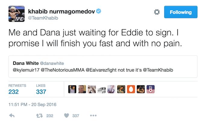 Dana White; Eddie Alvarez; Khabib Nurmagomedov; Conor McGregor