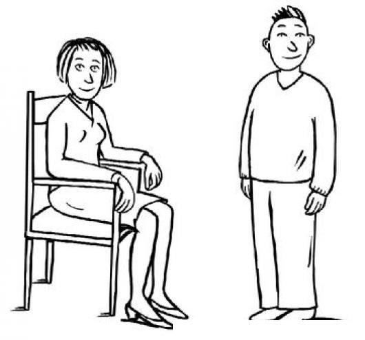 Las Damas Primero Dibujo De Mujer Sentada Y Hombre Parado Para