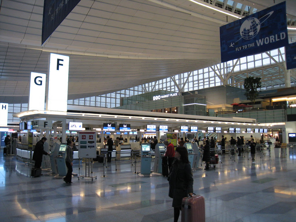 Japan Airlines (JAL) check-in counters at Haneda (HND) International Terminal