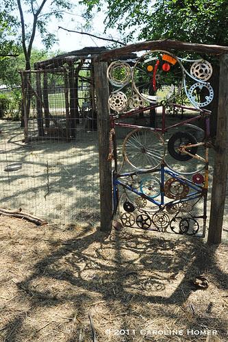 Chicken coop gate from bike parts