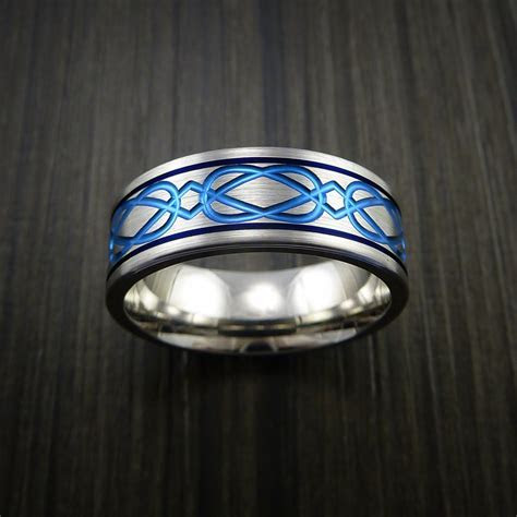 Titanium Celtic Bold Blue Band Wedding Ring Custom
