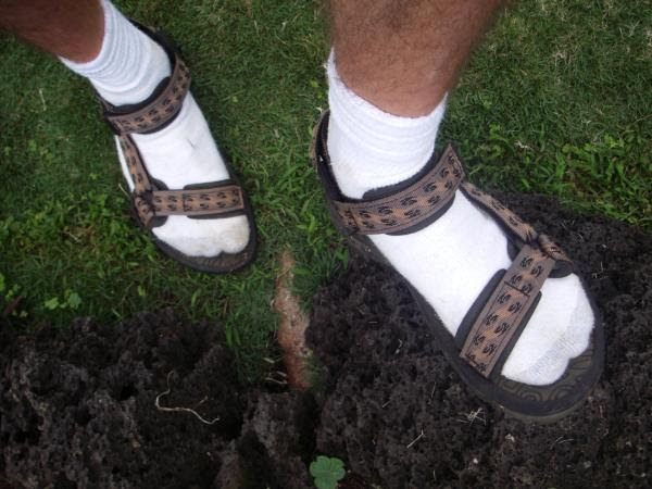 ... socks. Only the tourists wear them—locals prefer their slippahs or