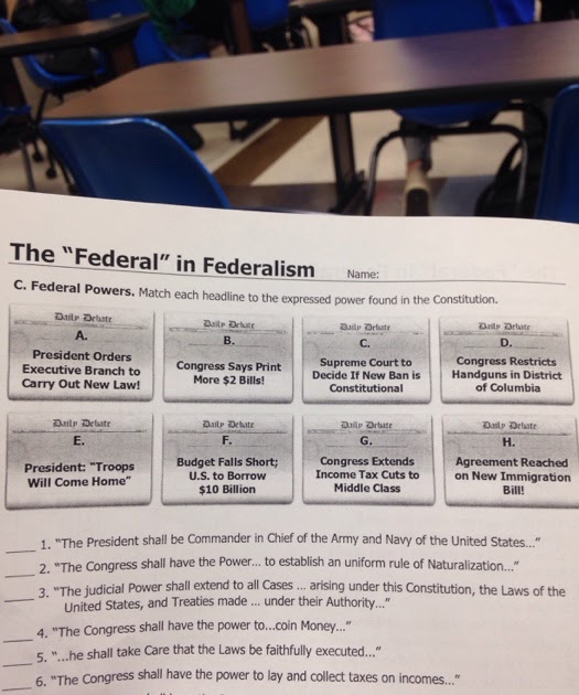 Icivics Review Worksheet P.1 Answers Federalism Strength ...