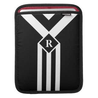 White Stripes and Chevrons on Black with Monogram Sleeve For iPads