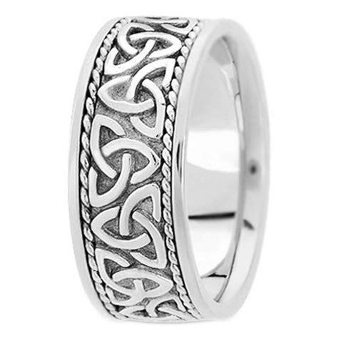 Wedding Band   14K White Gold Celtic Knot Trinity Roped
