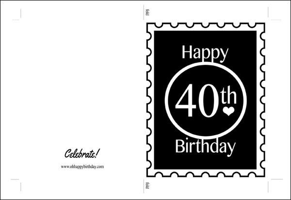 Happy 40th Birthday Card - Black Print on Kraft Cardstock