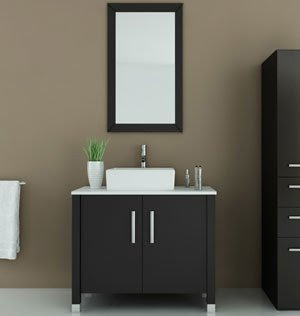 355 Gemini Single Vessel Sink Modern Bathroom Vanity Cabinet With