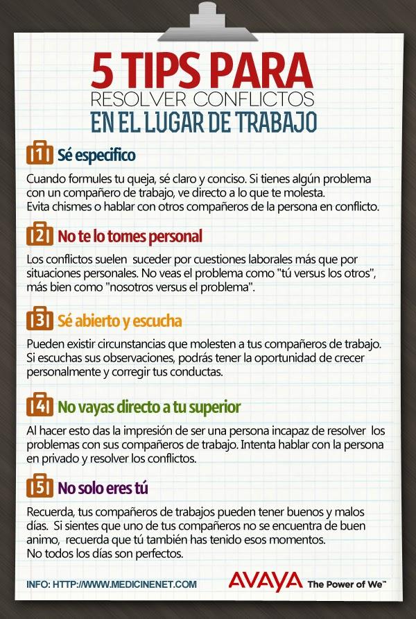 5 tips para resolver conflictos en el lugar de trabajo (Infografía)