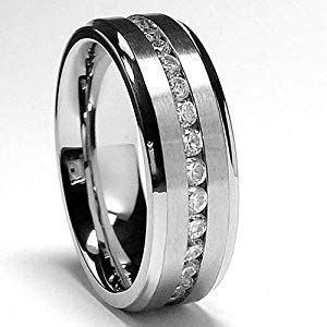 Amazon.com: 7MM Men's Eternity Titanium Ring Wedding Band
