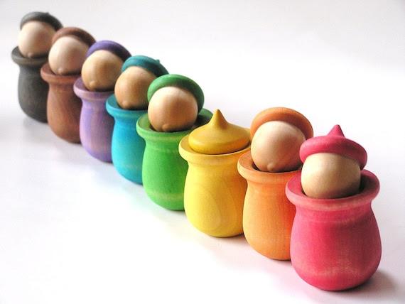 RAINBOW Wood Toy - Peek-a-Boo Acorn Pots- Waldorf Montessori Educational Toy