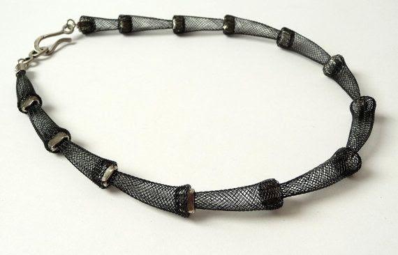 Black Mesh Silver Tone Necklace