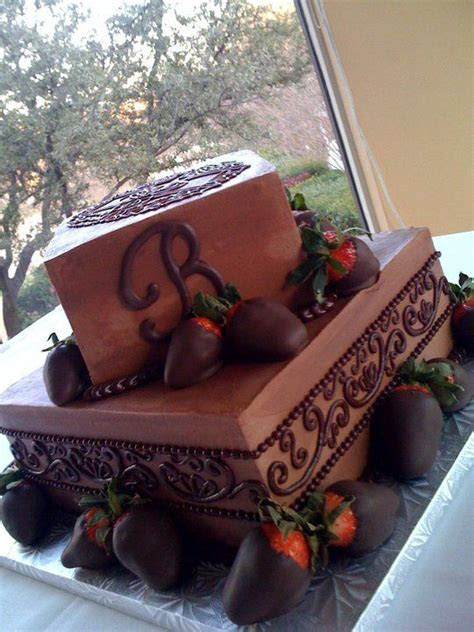 Grooms Cake. 2 tiered Monogram and chocolate covered