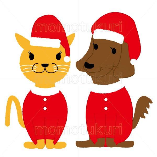 99円から390円素材sozaiクリスマス ネコと犬のサンタクロースのイラスト