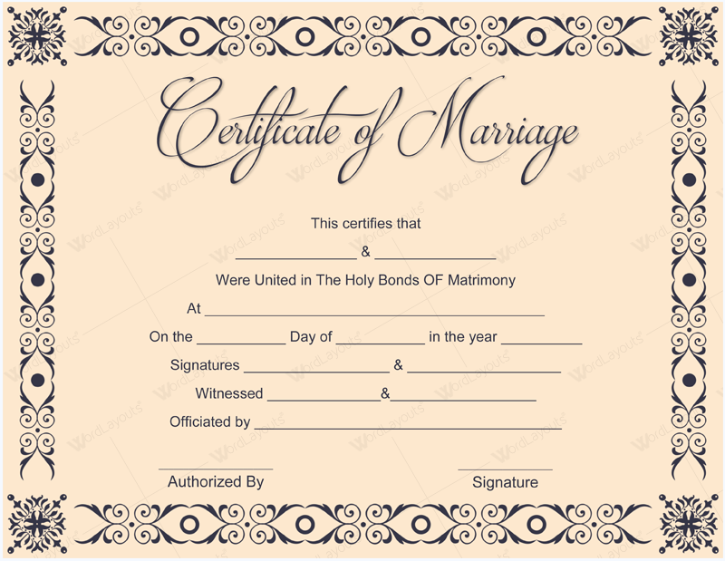 Insane image for printable marriage certificate