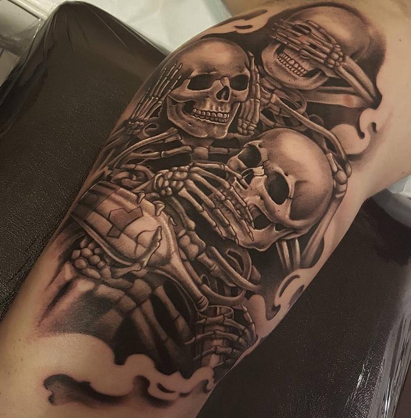 Skeletons See No Evil Hear No Evil Speak No Evil Best Tattoo