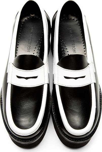 J.w. Anderson Black and White Leather Platform Penny ...