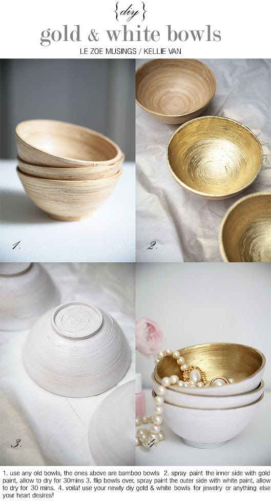 DIY: gold and white bowls