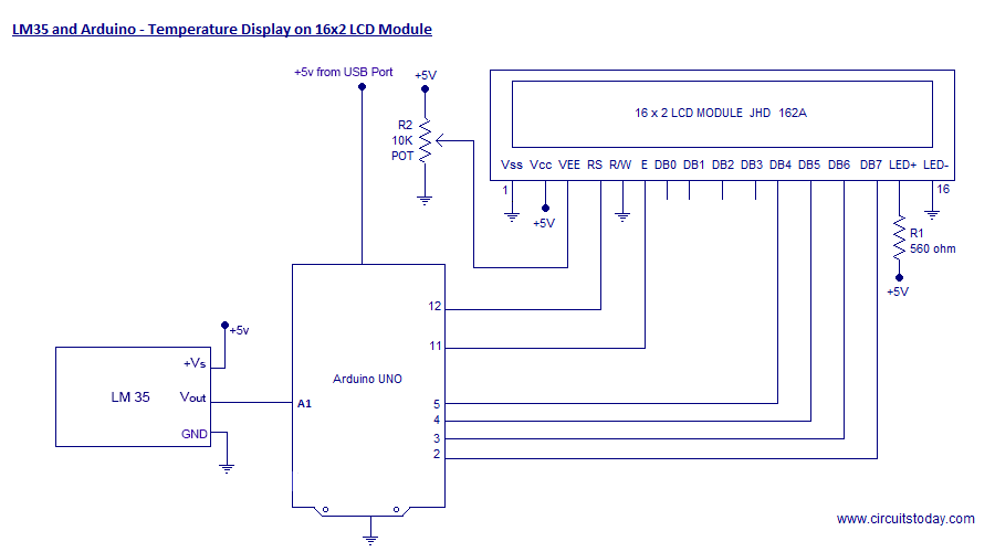 Temperature Display using LM35 and Arduino