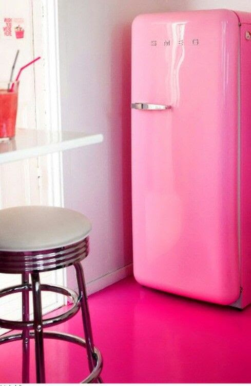 Pink fridge.. I love it!!!! I want a girl cave to put this in!!!