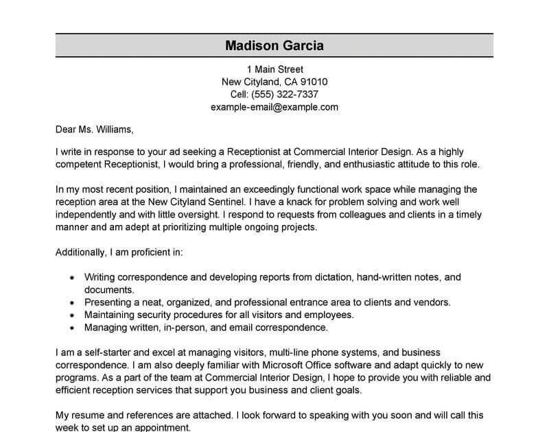 Application For Receptionist Job
