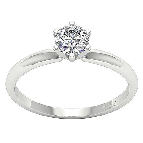 Solitaire Engagement Ring Prong Set Natural Diamond I1 H 0