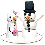 snow couple cake toppers via foobella.blogspot.com
