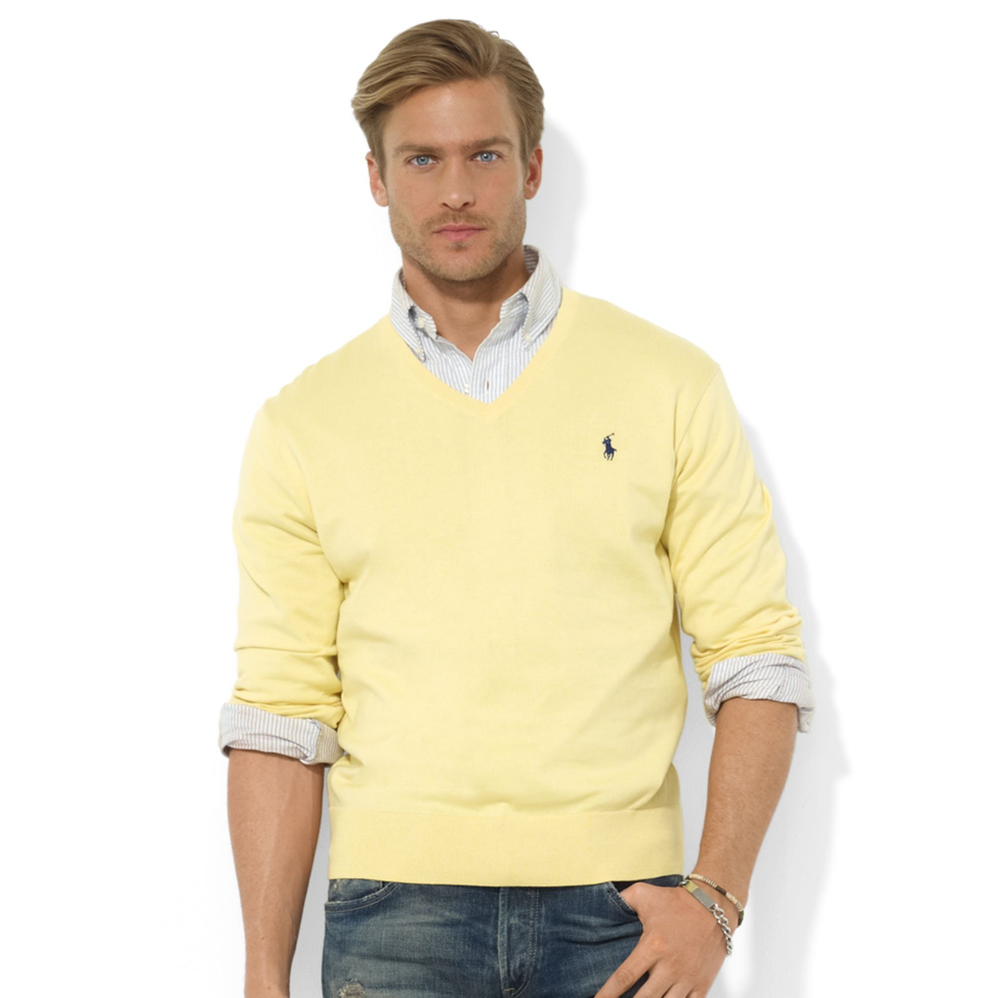 Cardigan bright men yellow outfit fisher