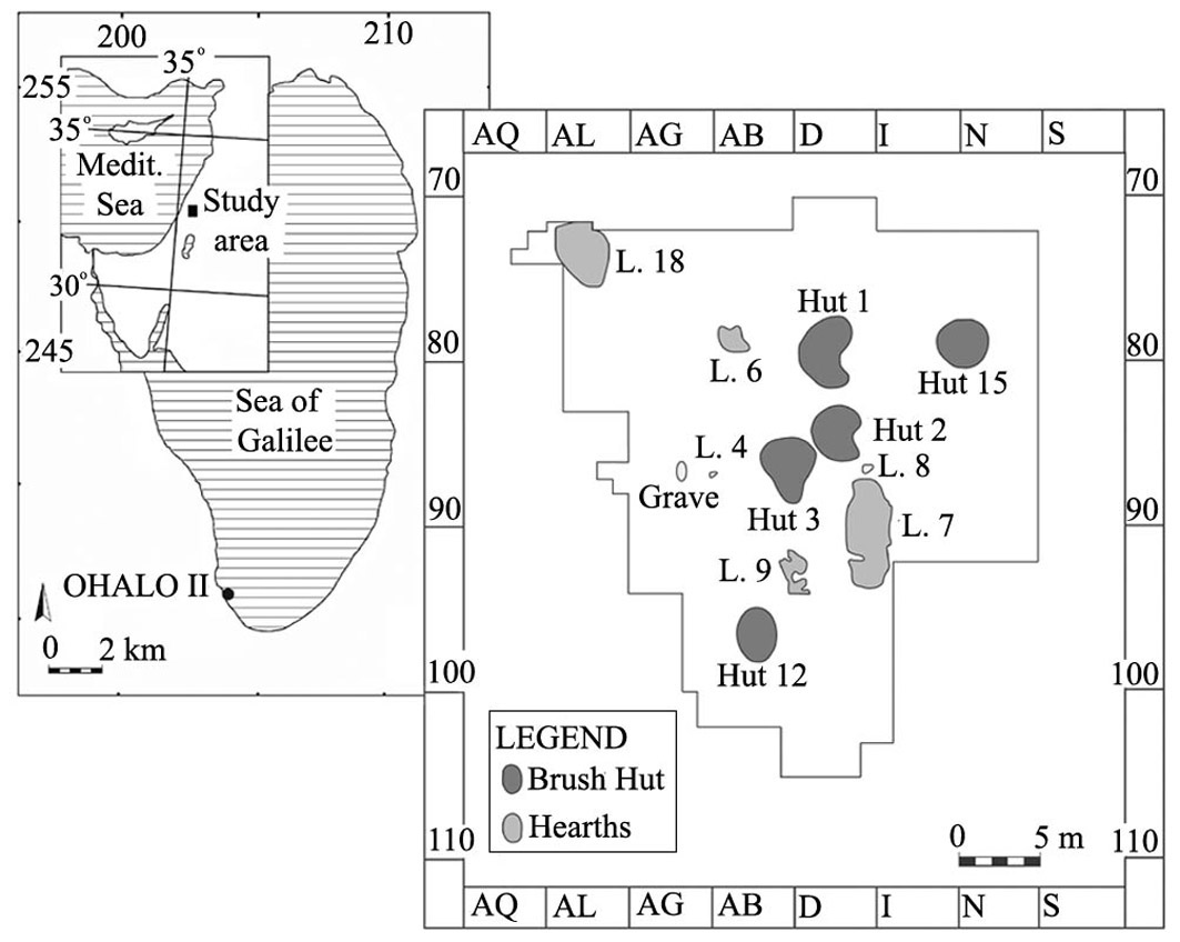 Fig 1.  Location map of Ohalo II and central area of excavation at the site.