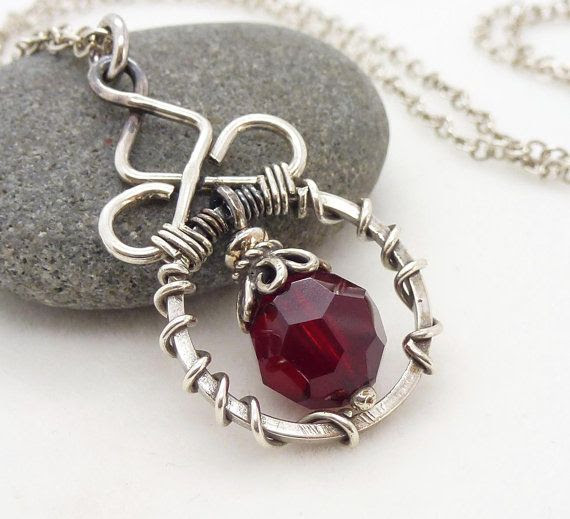 Dark red necklace sterling silver Oxidized by CreativityJewellery, $70.00