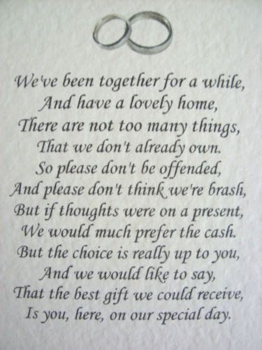 17 Best ideas about Wedding Gift Poem on Pinterest