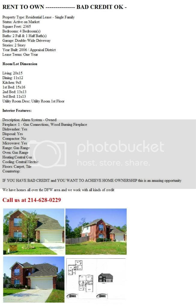 Home For Rent to Own in Rowlett (Rowlett) $1750 4bd ...