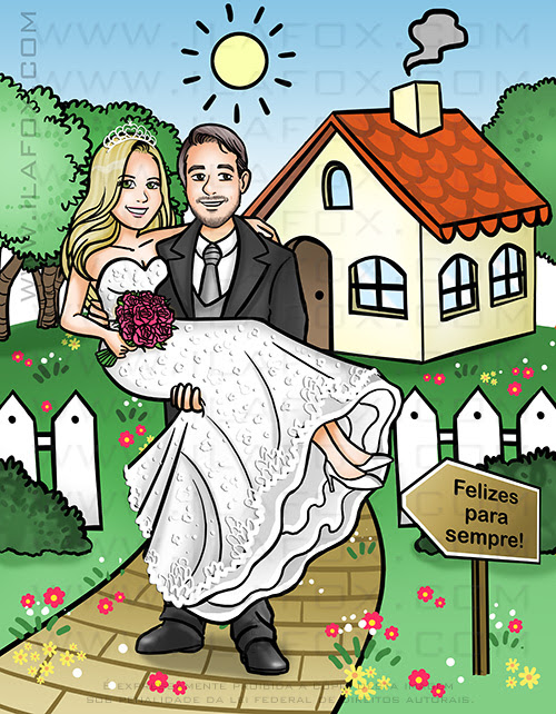 caricatura casal, caricatura noivos, caricatura para casamento, caricatura com fundo de casa, caricatura noivinhos, caricatura bonita, caricatura romantica, by ila fox
