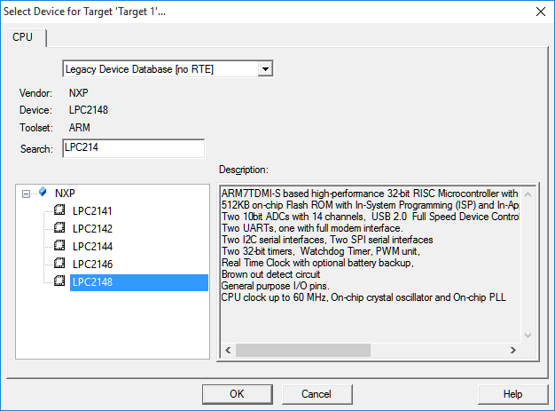ARM Tool - Device Selection for Project