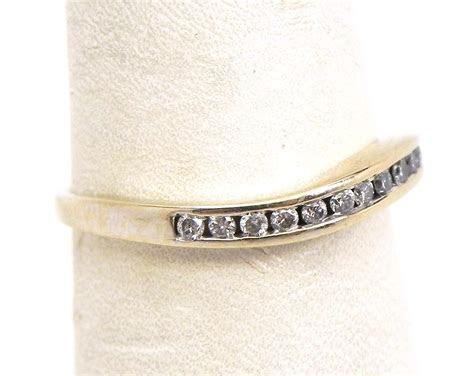 Ladies 14k White Gold Diamonds Wavy Wedding Ring   Bright
