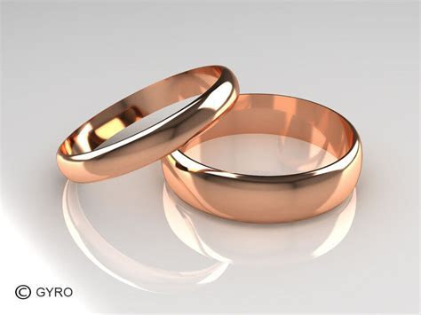 Rose Gold His and Hers set of Wedding Rings D Shaped Band
