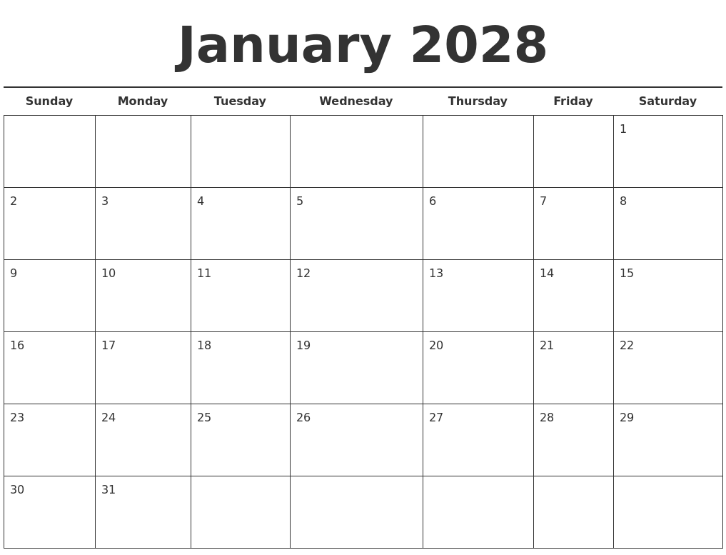 january 2028 free calendar template full weekday