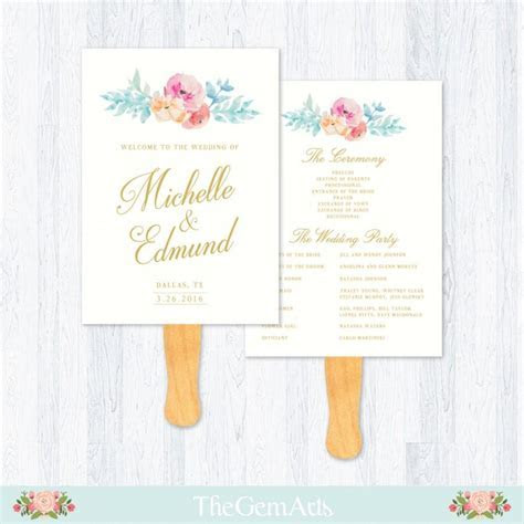 Wedding Fan Program Template, Floral Watercolor, Rustic