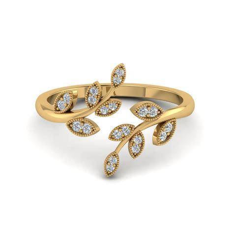 Open Leaf Diamond Engagement Ring In 14K Rose Gold