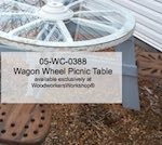 Wagon Wheel Picnic Table Woodworking Pattern - fee plans from WoodworkersWorkshop® Online Store - wagon wheels,picnic tables,country style,western, drawings,plywood,plywoodworking plans,woodworkers projects,workshop blueprints