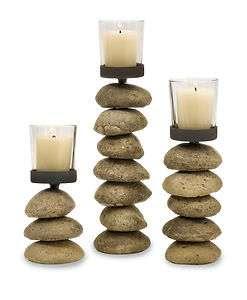 Stacked Blocks Wood Candle Holder