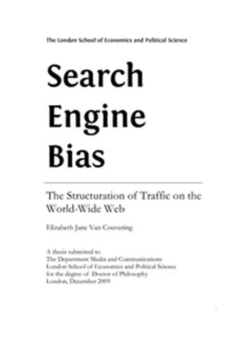 Search engine bias: the structuration of traffic on the