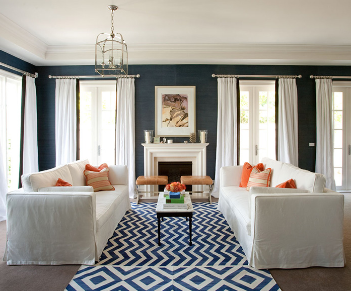 Suzie:  Diane Bergeron  bold blue & white chic living room design with blue grasscloth ...