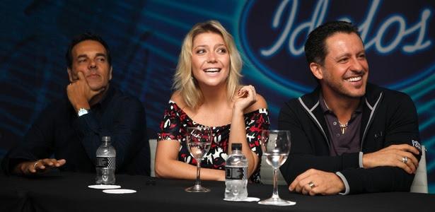 Os jurados Marco Camargo (à esq.), Luiza Possi e Rick Bonadio (à dir.) durante entrevista coletiva de lançamento de Ídolos 2011 da Record (30/3/2011)