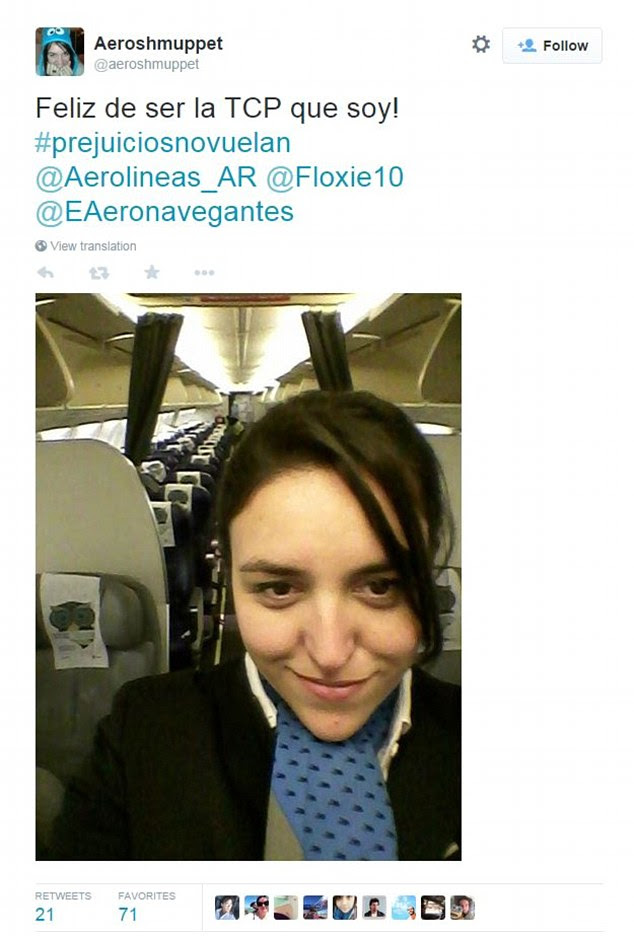 Hashtag: Here, a flight attendant for the airline tweets a photograph of herself with the hashtag #prejuiciosnovuelan -- #PrejudiceDoesn'tFly