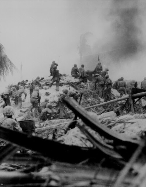 "Marines storm Tarawa. Gilbert Islands."" WO Obie Newcomb, Jr., November 1943."