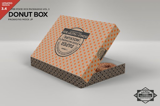 Download Donut Box Packaging Mockup PSD Template