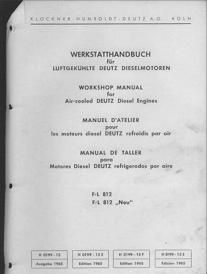 Deutz FL812 Air-Cooled Diesel Engine Service Manual