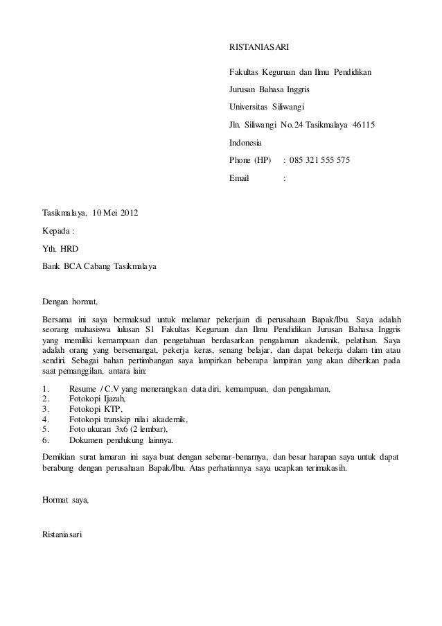 contoh surat lamaran ke bank