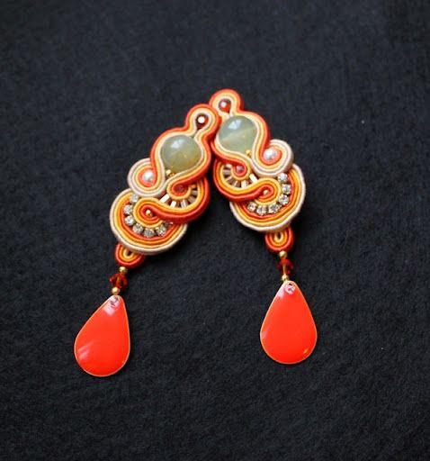 orange soutache earrings