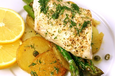 roasted fish, potato, asparagus with dill butter